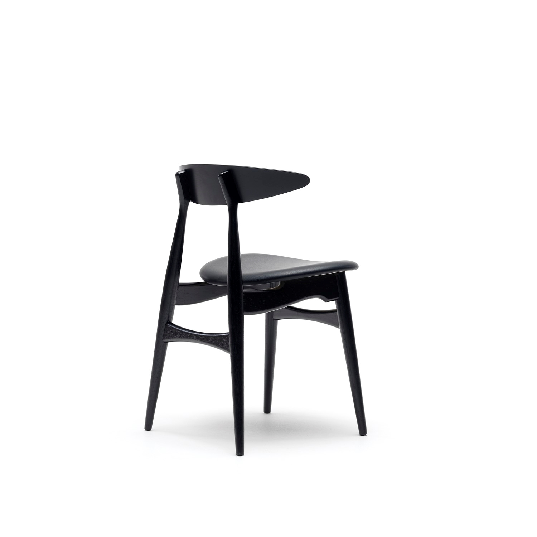 sort stol Wegner CH33 stol sort eg med sort læder   Carl Hansen sort stol