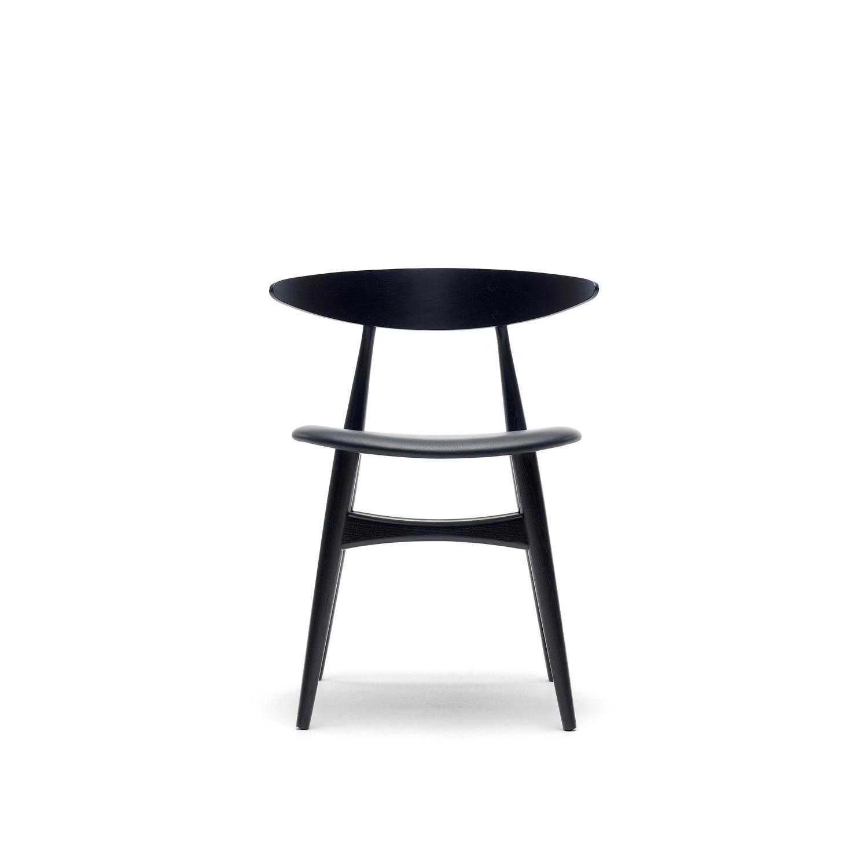 Wegner ch33 stol sort eg med sort læder   carl hansen