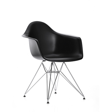 Eames DAR stol Basic dark/Sort - krom stel