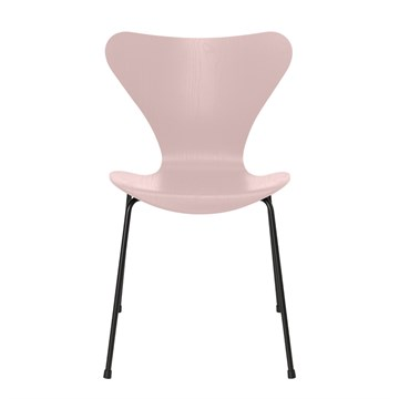 Fritz Hansen 7'er stol 3107 Farvet Ask Sort Stel Pale Rose