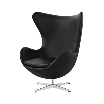 Arne Jacobsen Lænestol Ægget i sort læder Essential Sort