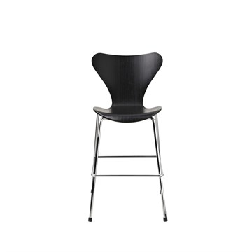 Fritz Hansen 3177 Junior stol Barstol Sort Ask krom ben