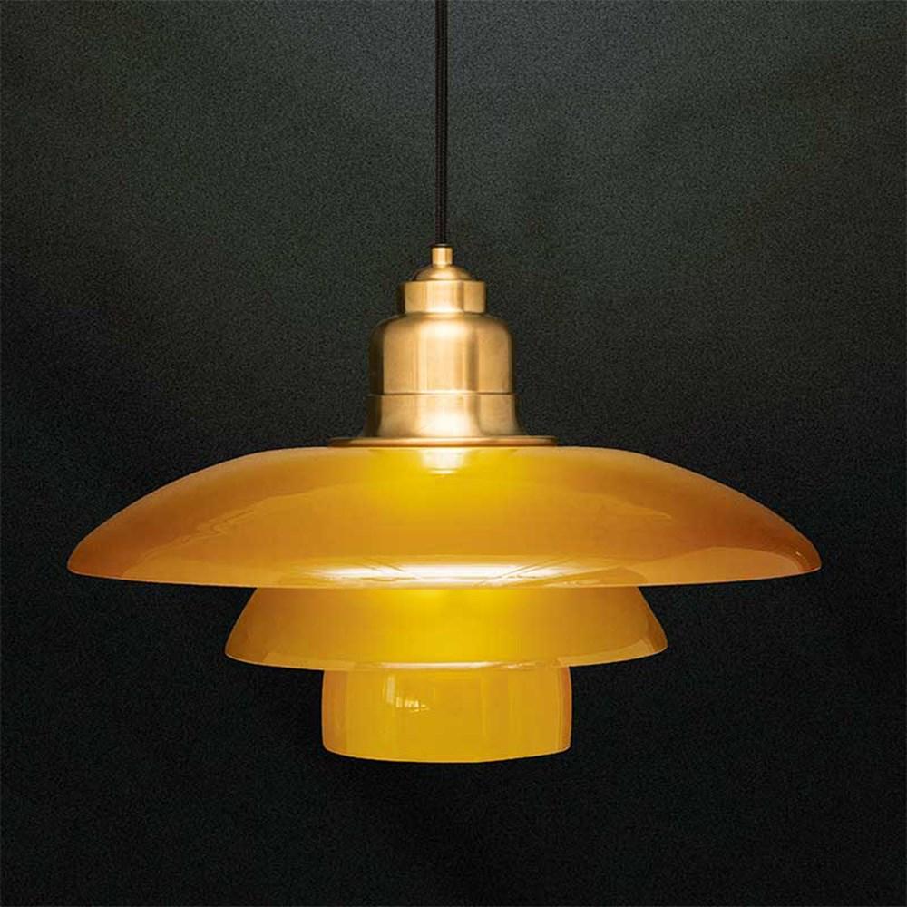 PH 3\u00bd-3 Pendel - Limited Edition - Ravfarvet Glas og Messing