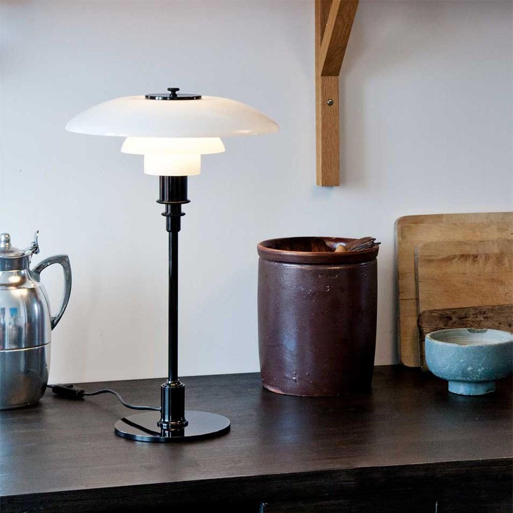 ph 3 2 bord i sortforkromet k b bordlampen her. Black Bedroom Furniture Sets. Home Design Ideas