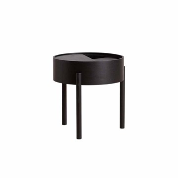 Woud Arc Side table i sortmalet ask Ø45