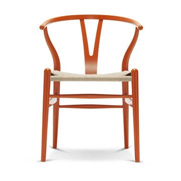 Carl Hansen CH24 lakeret bøg med naturflet Orange red