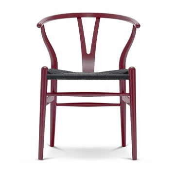 Carl Hansen CH24 lakeret bøg med sort flet berry red
