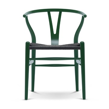Carl Hansen CH24 lakeret bøg med Sort flet Grass Green