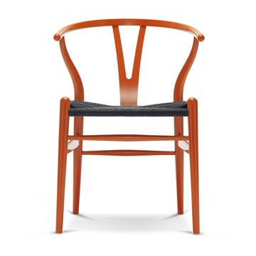 Carl Hansen CH24 lakeret bøg med Sort flet orange red